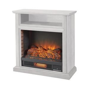 Hampton Bay Ansley 32 In Rolling Mantel Infrared Electric Fireplace In White 25 805 50 The Home Depot Electric Fireplace Fireplace Home