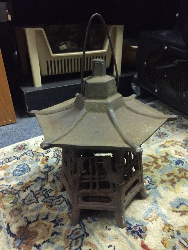 Vintage Cast Iron Garden Pagoda Hanging Japanese Lantern Candle Holder  | eBay