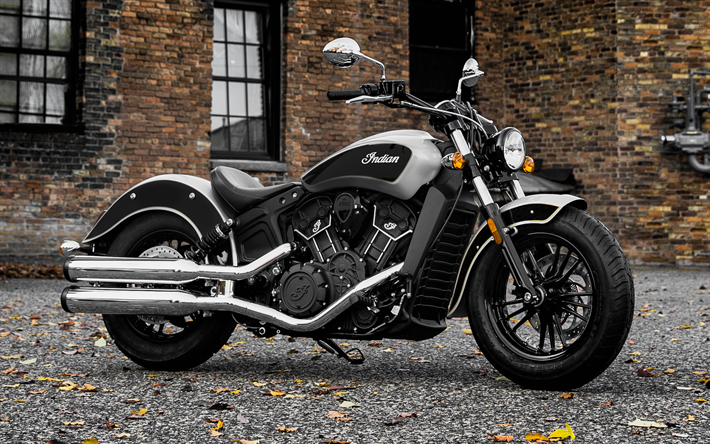 Download Wallpapers Indian Scout 2018 Bobber Luxury Motorcycle Dual Chrome Exhaust Black Besthqwallpapers