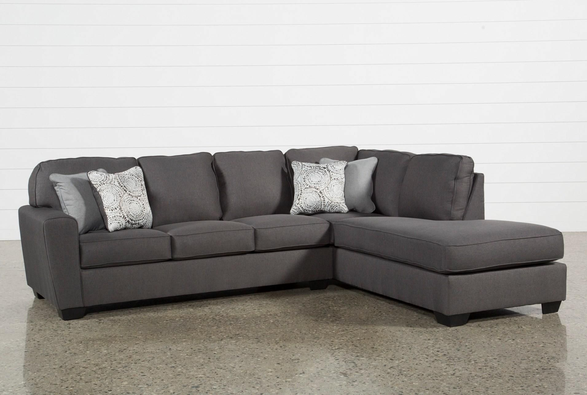 Mcdade Graphite 2 Piece Sectional With Right Arm Facing Armless Chaise Grey Sectional Sofa Grey Sectional Couch Living Spaces Sectional