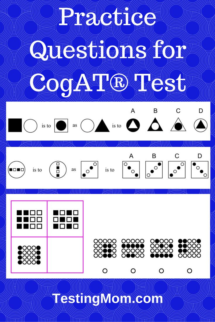Free Practice Questions for CogAT® Test. Can your child answer these difficult questions? Find more tough questions like these at TestingMom.com.