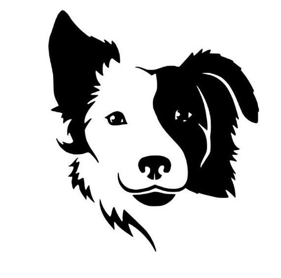 Border Collie/Australian Shepard Style Pet Dog w/ Floppy Ear Vinyl Decal for Car, Home, Laptop, Yeti, Wall Decor, and More