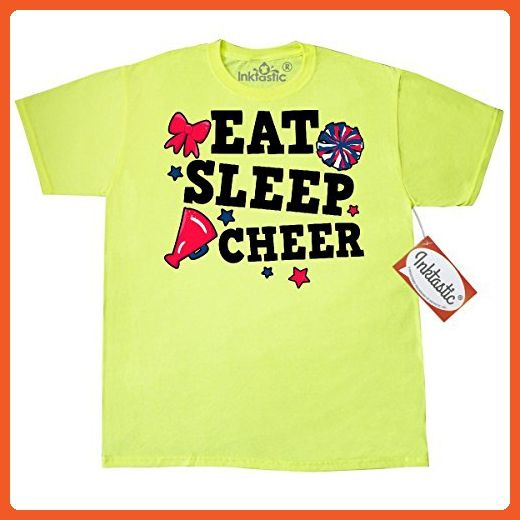487605fc408 Inktastic Cheerleading Eat Sleep Cheer T-Shirt XXX-Large Safety Green -  Sports shirts