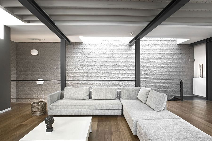 Exposed Brick Walls And Steel Frame In The Living Room Private Residence Brussels Dazzles With