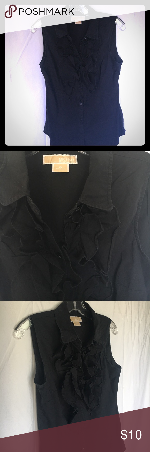 Michael Kors Black sleeveless button down This topic perfect for that business casual look with great ruffles placed in the front of the shirt the all black top is great with cardigans penny itself! MICHAEL Michael Kors Tops Button Down Shirts