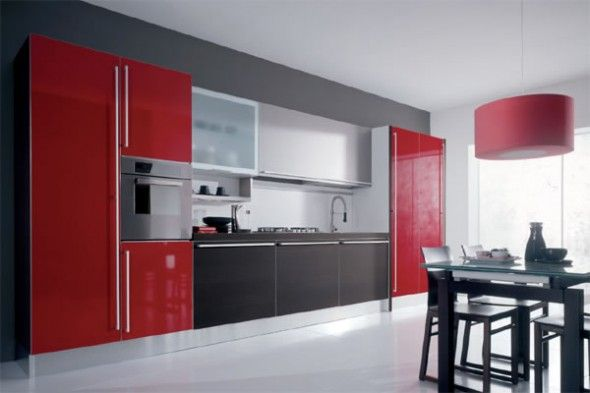 Superbe Striking Impresseive Black And Red Glossy Kitchen Interior Design