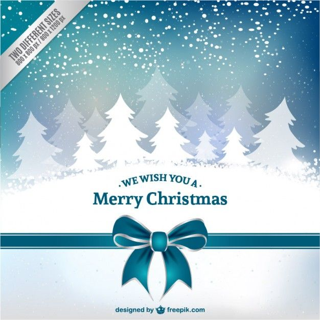 Christmas card with white trees Free Vector | Christmas & New Year ...