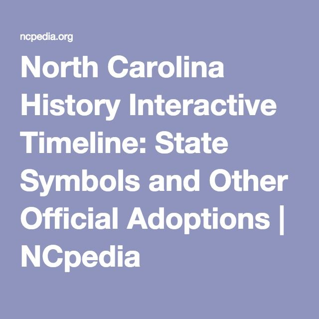 North Carolina History Interactive Timeline State Symbols And Other