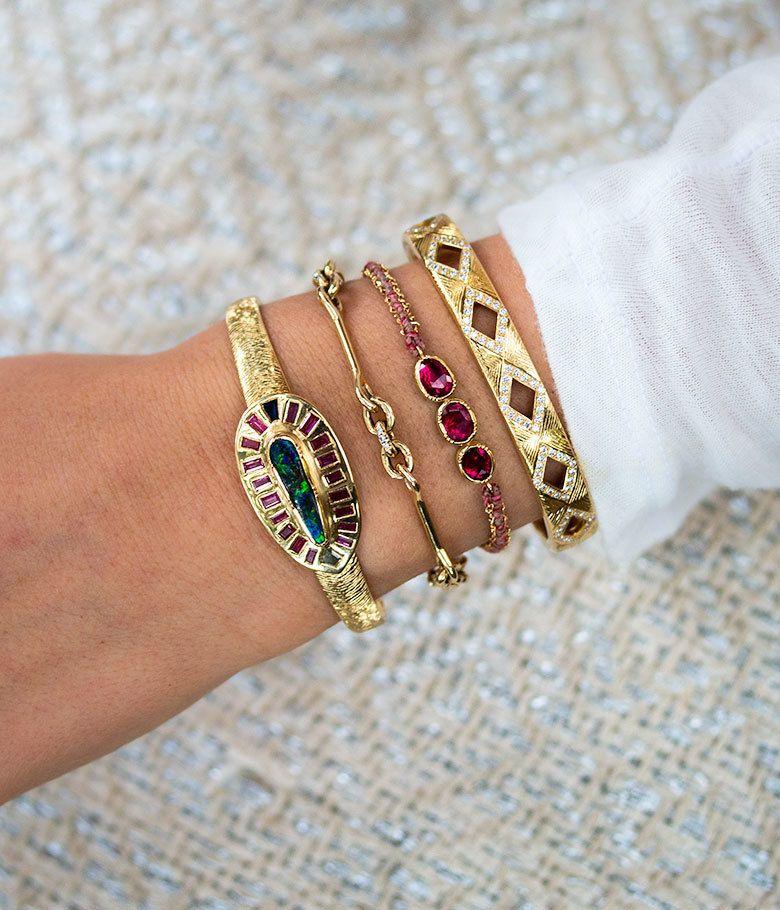 Triple Ruby Woven Bracelet Audry Rose Gold diamond