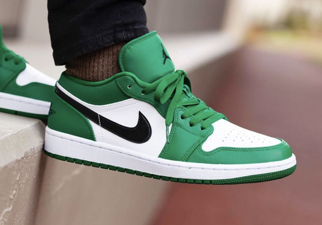 Air Jordan 1 Low Pine Green Black White 553558 301 In 2020 Nike Fashion Shoes Air Jordans Sneakers