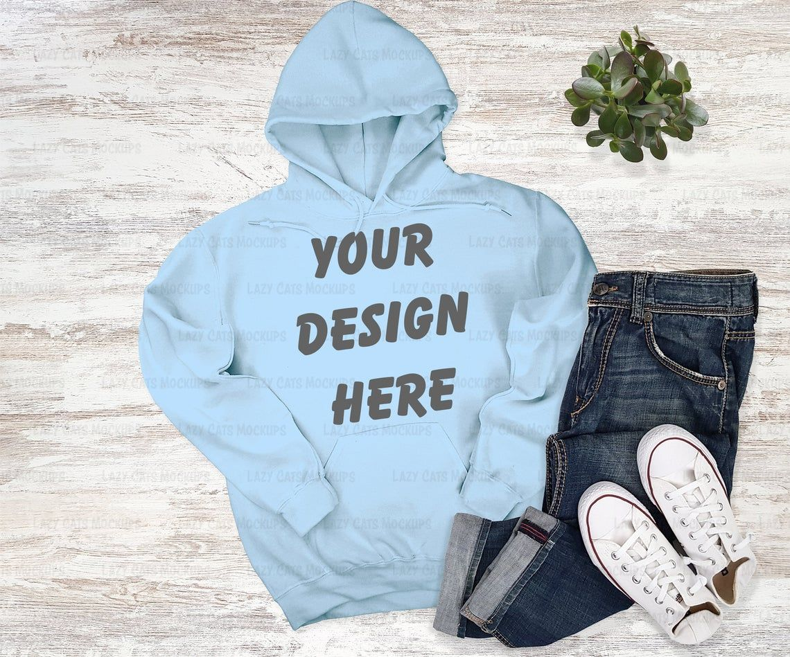Download Light Blue Hoodie Mockup Gildan 18500 Mock Up Sweatshirt Etsy Hoodie Mockup Light Blue Hoodie Blue Hoodie