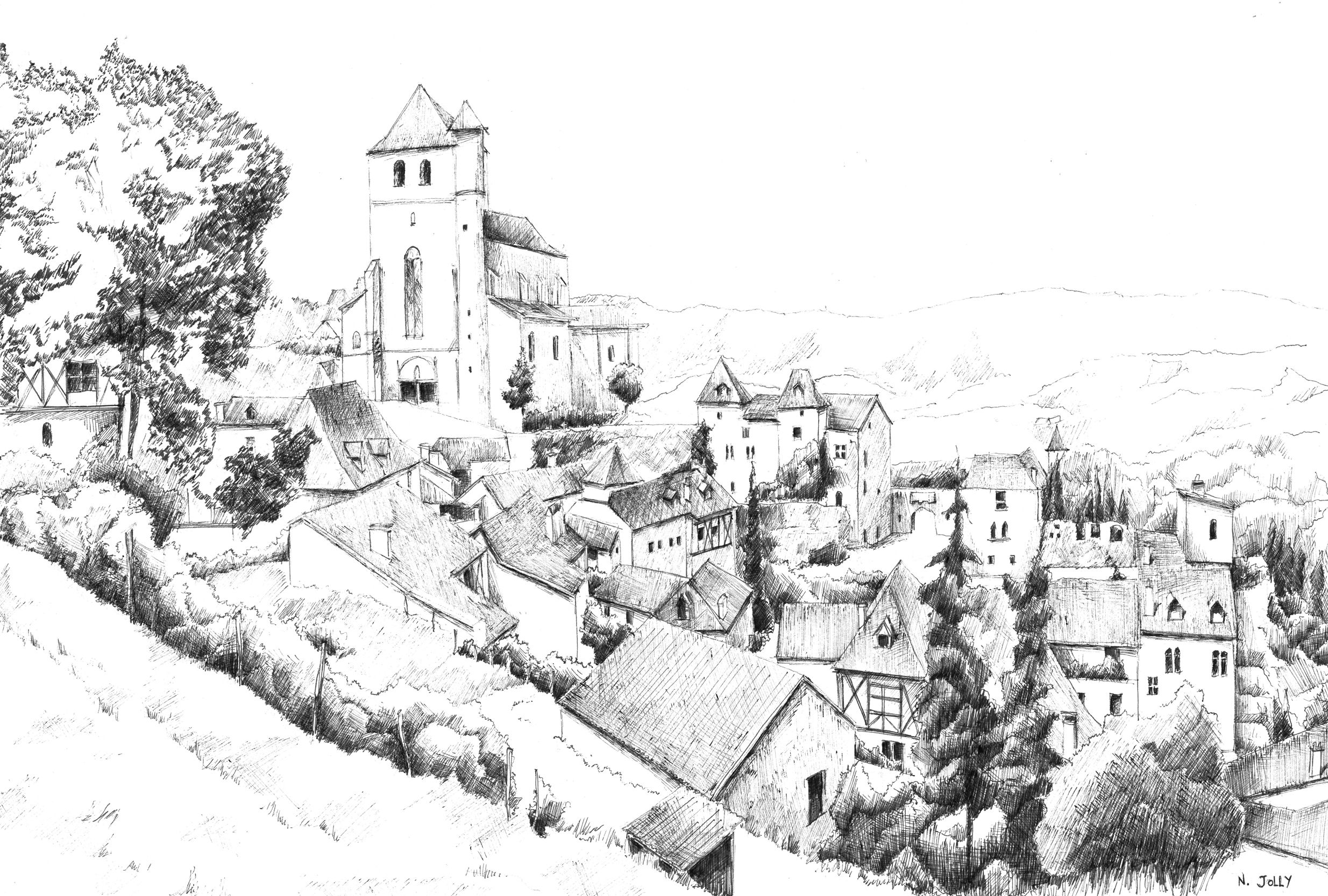 Dessin encre de chine black ink drawing saint cirq - Village dessin ...