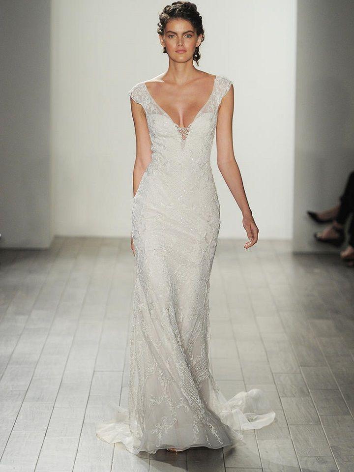 v-neck sheath wedding dress | itakeyou.co.uk #vneck #bride #weddinggown #bridalgown #weddingdresses #weddingdress #lazaro #wedinggown