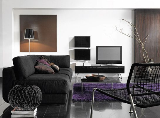 black and purple living room, For the Home Pinterest Living