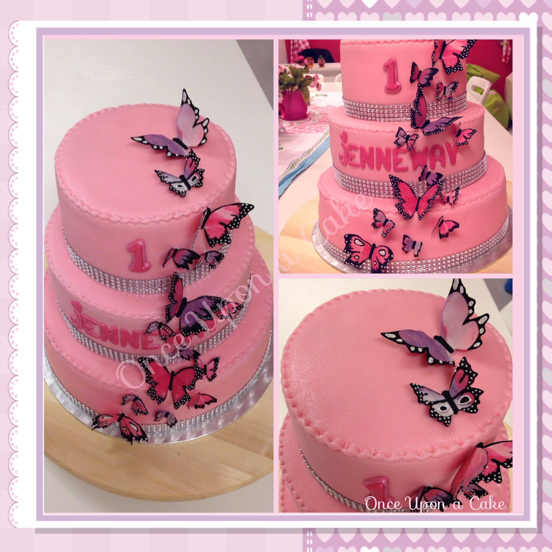 De wens was een roze taart met glitter en vlinders ! She wanted a ...