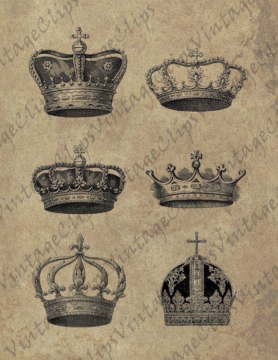 VintageClips digital sheet R001  Crowns  high by VintageClips, $1.50