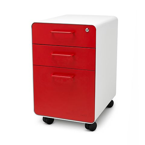 White + Red West 18th Rolling File Cabinet | 3-Drawer File Cabinet | Poppin