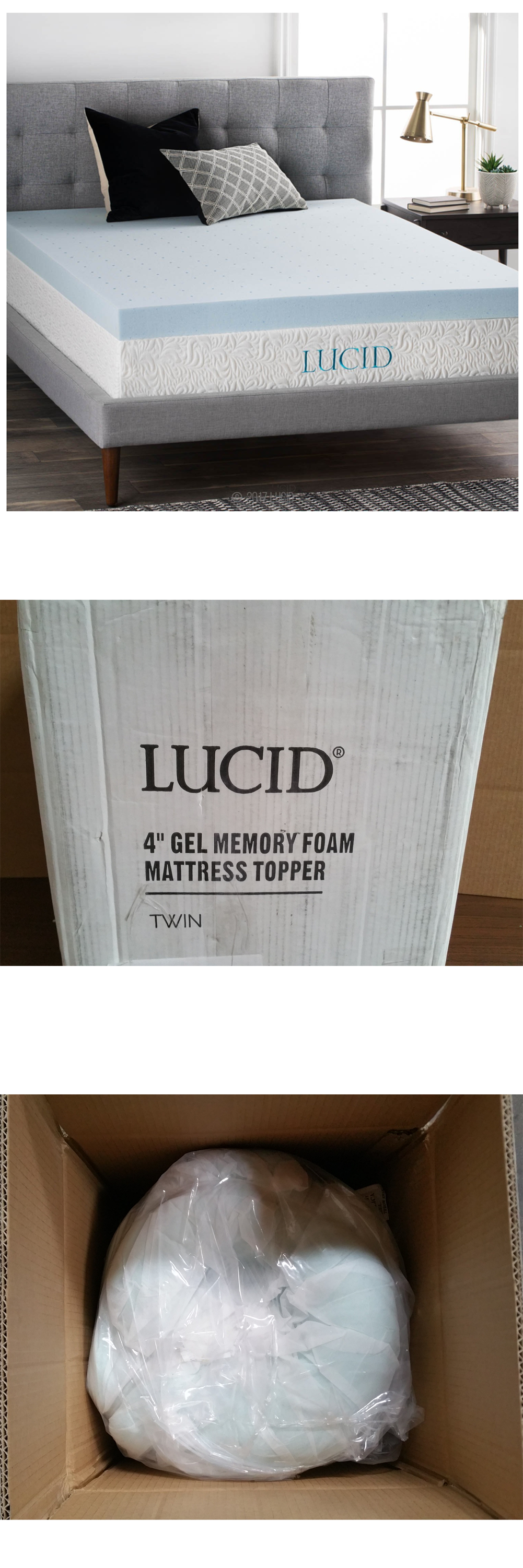 Mattress Pads and Feather Beds 175751 Lucid 4 Inch Gel Memory Foam