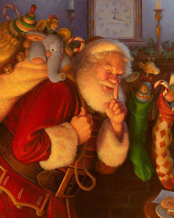 vintage santa painting google search art xmas. Black Bedroom Furniture Sets. Home Design Ideas