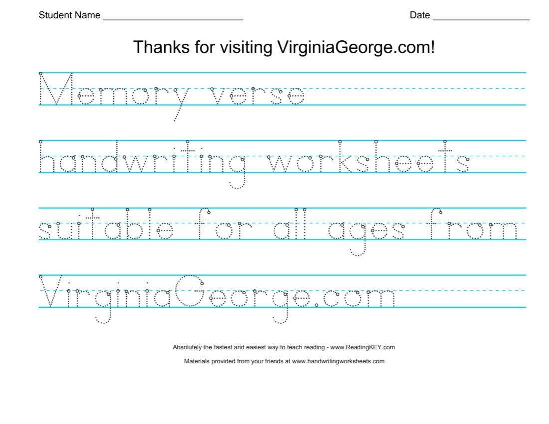 Bible Verse Handwriting Worksheets
