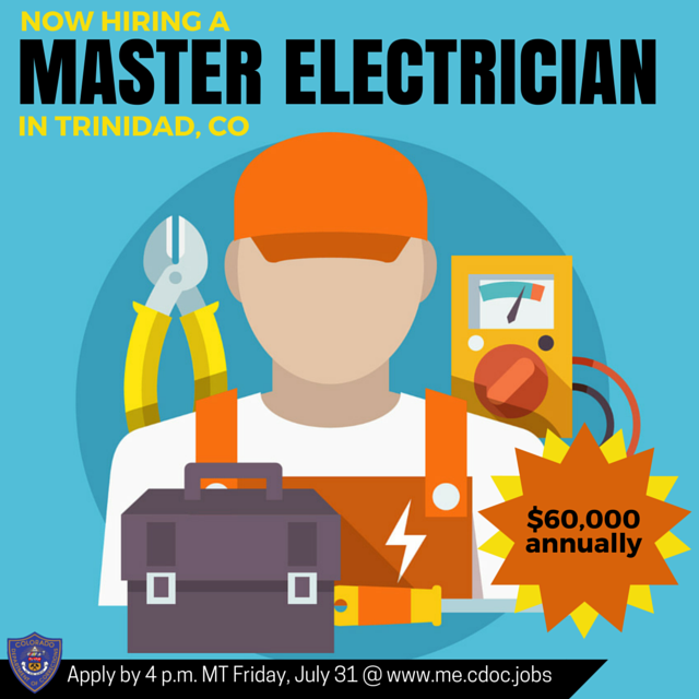 NOW HIRING a Master Electrician in Trinidad, CO. 60,000