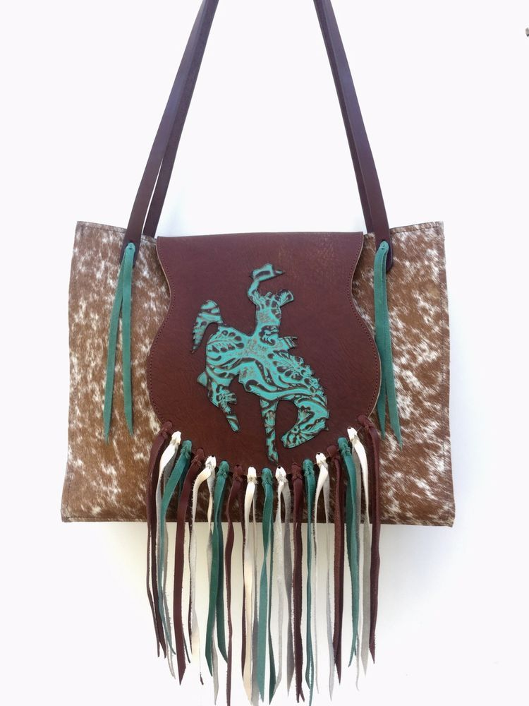 1c158a394 Turquoise Western Leather RODEO Purse Tote w/ Fringe & Bronc Horse K Bar J  X5 | eBay