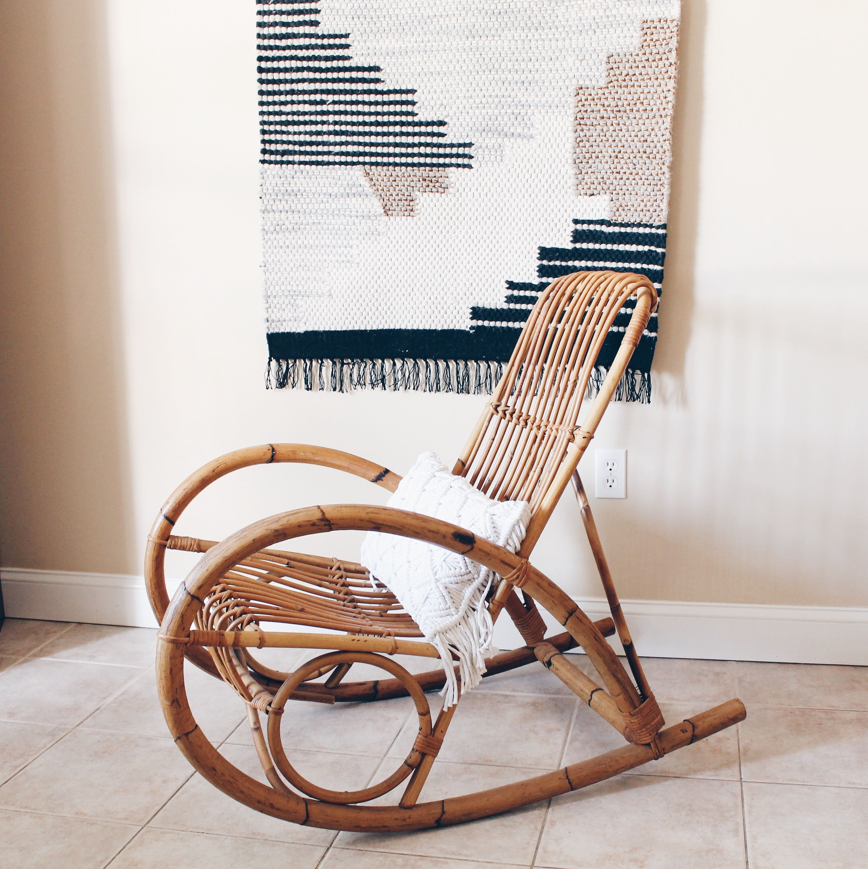 Rattan Rocking Chair Franko Albini Style Bamboo Rocking Chair