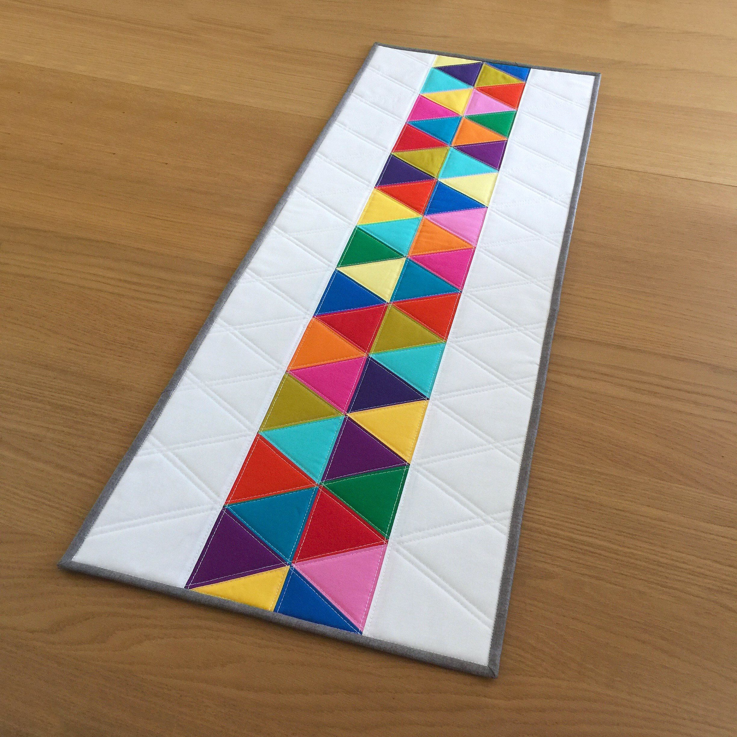 Modern Quilted Table Runner Rainbow Quilted Wall Hanging Etsy Quilted Wall Hangings Quilted Table Runner Modern Table Runners