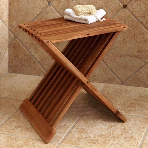 Folding Teak Shower Seat   Bathroom   Pinterest   Shower seat, Teak ...