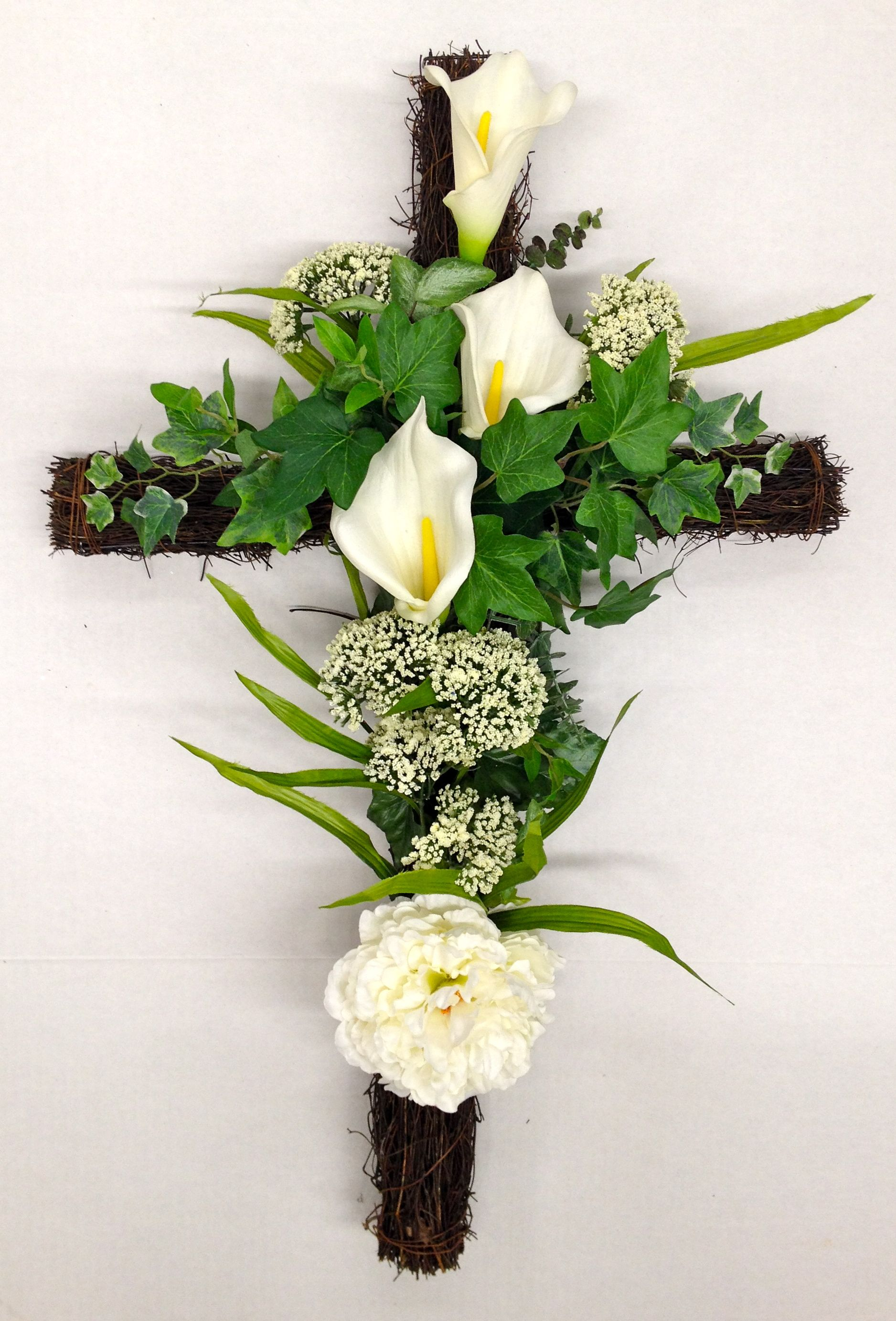Season Memorial Grape Vine Cross With White Calla Lilies And Wild