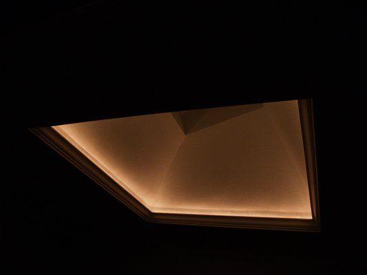skylight lighting. led illuminated skylight opening also used as a night light for master lighting