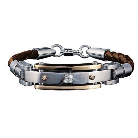 Men's Diamond Brown Leather Bracelet