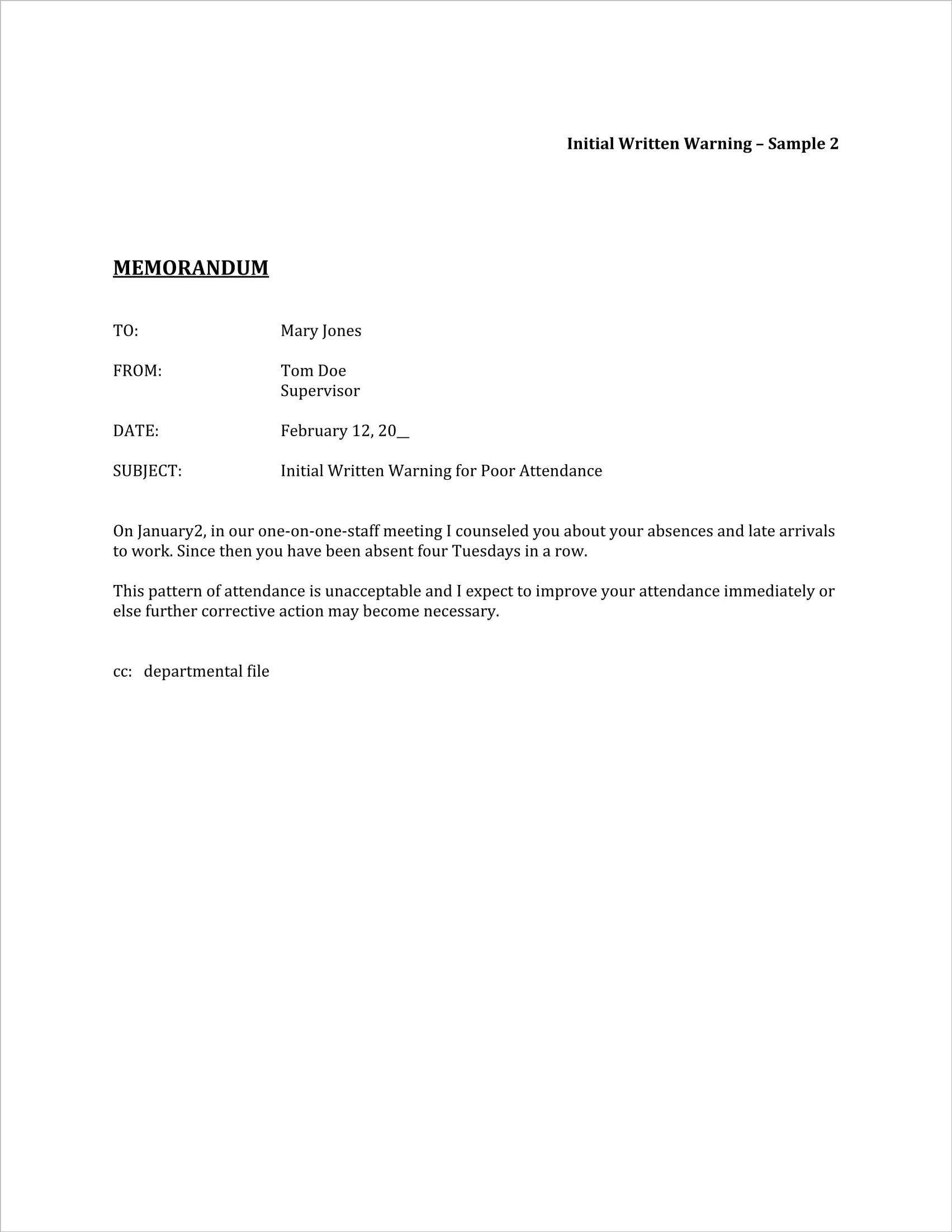 Sample Warning Letter For Absenteeism from i.pinimg.com