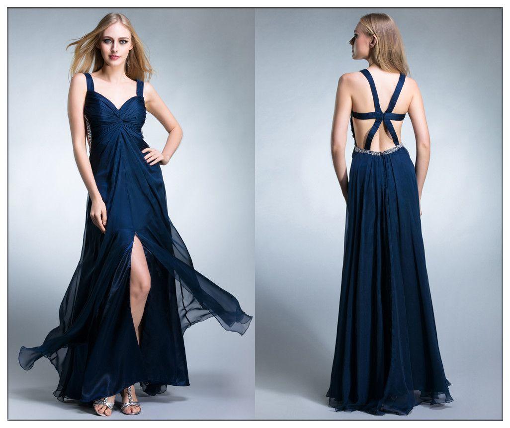 Blue flowy long sexy evening chiffon prom dress fashionista