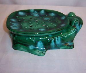 Vintage-Ceramic-FROG-McNees-Mold-M-467-Hand-painted-Soap-Sponge-Dish-7-5-x-5