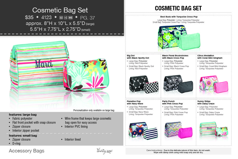 29ae752c91 Thirty-One cosmetic bag set