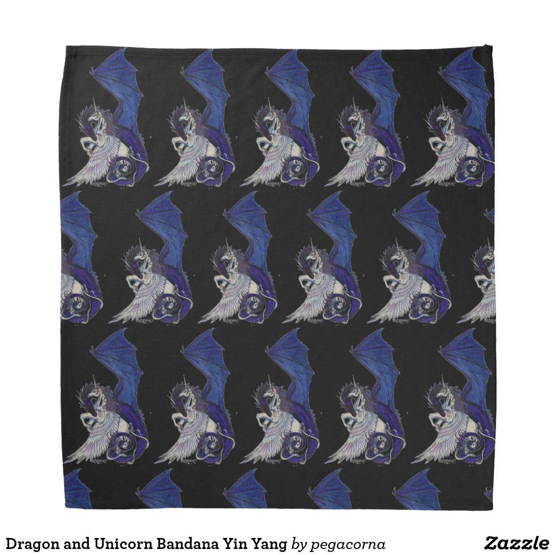 dragon and unicorn bandana yin yang with images