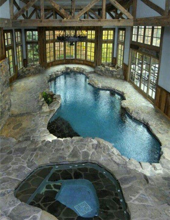 Rustic Stone Pool And Hot Tub With Wood And Windows Indoor Swimming Pool Design Indoor Pool Design Pool Houses