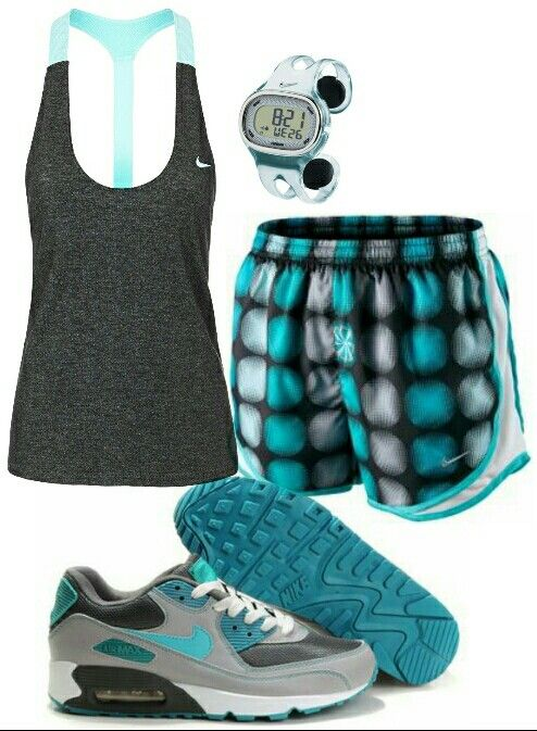 Women's fashion teal gray nike outfit, don't like the shoes tho. Nike free runs r better!
