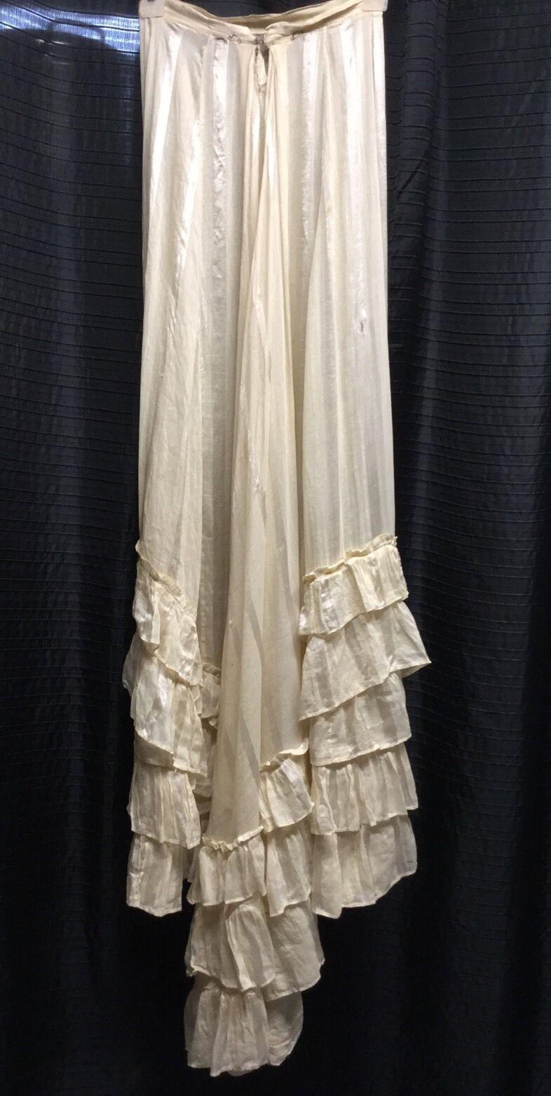 Antique Striped Satin Petticoat Slip Long Train Full Length Handmade. Back