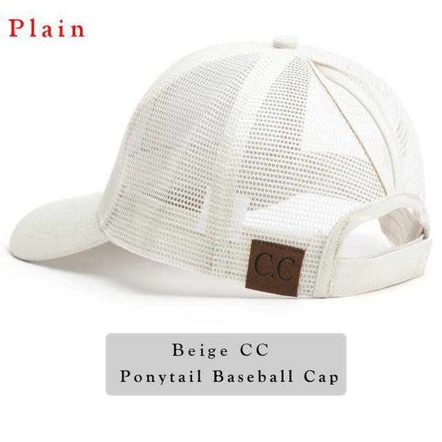 3e2ea1d3e9ef0 2018 CC Glitter Ponytail Baseball Cap Women Snapback Hat Summer Messy Bun  Mesh Hats Casual Adjustable Sport Caps