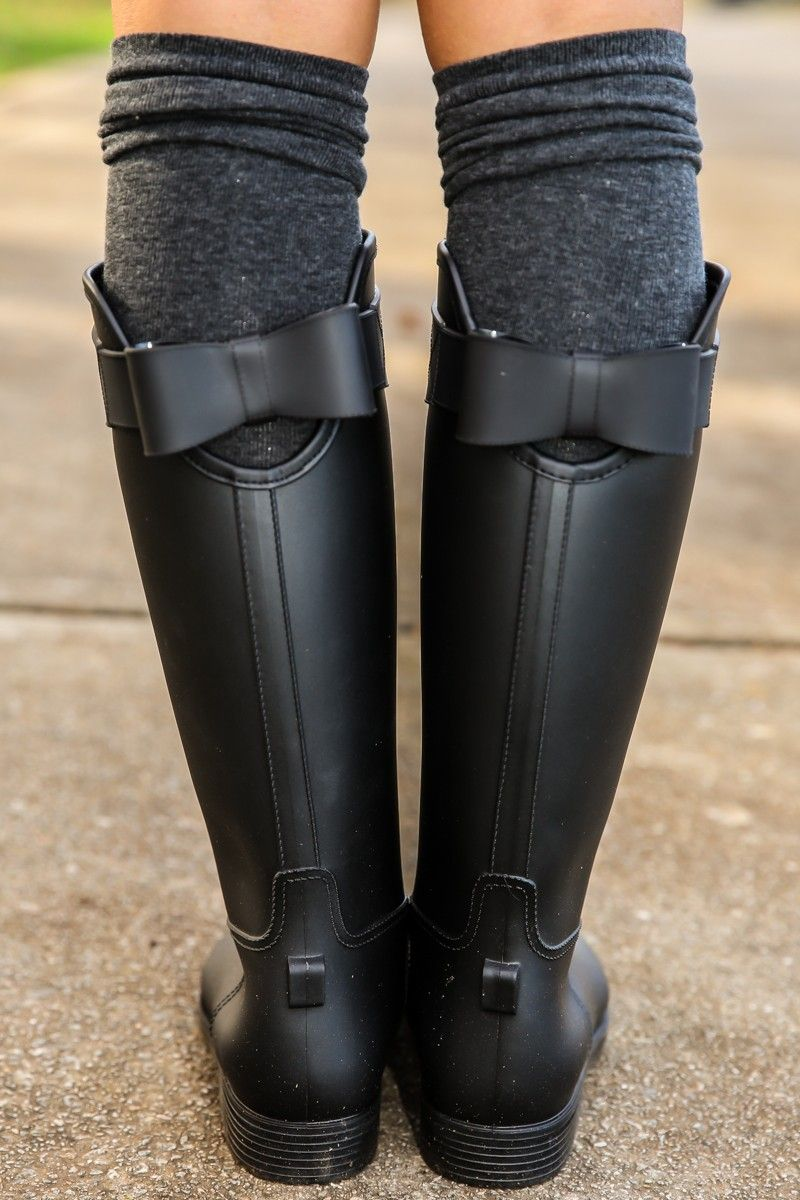 af9b2d49747 Sealed With A Bow Rain Boots-Black - All Shoes