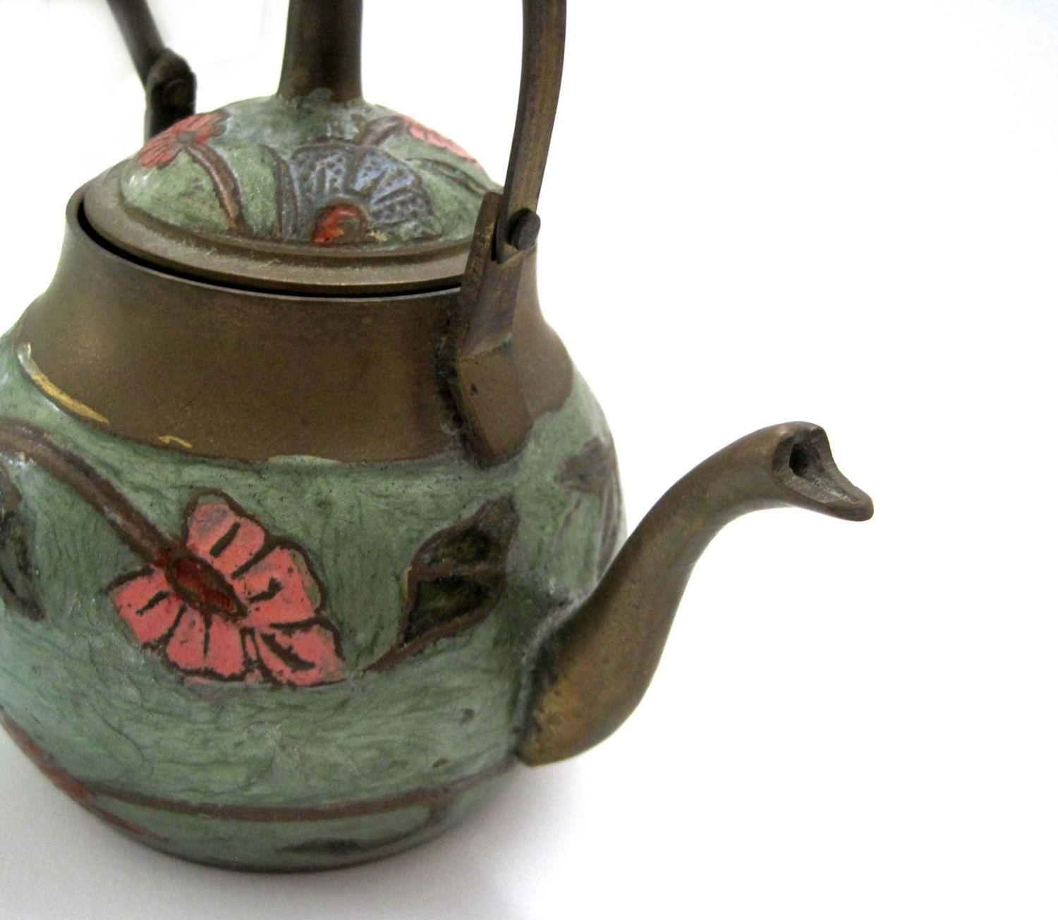 Vintage CLOISONNE Brass Hand Painted Enamel FLOWER, Teapot with Lid ...