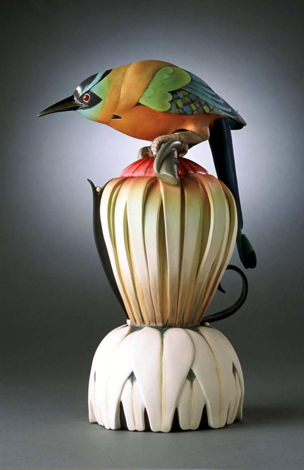 Annette Corcoran  Blue Crowned #teapot Mot Mot  Porcelain, multi-fire-glaze, under & overglazes, 12.75x7x6, 7,000$
