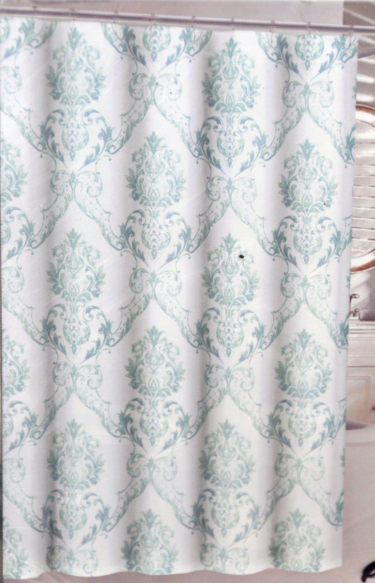 Tahari Chinoisserie Damask Fabric Shower Curtain Green Blue On