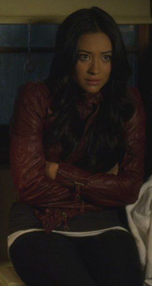 Emily's red leather jacket on Pretty Little Liars.  Outfit Details: https://wornontv.net/3868/ #PLL