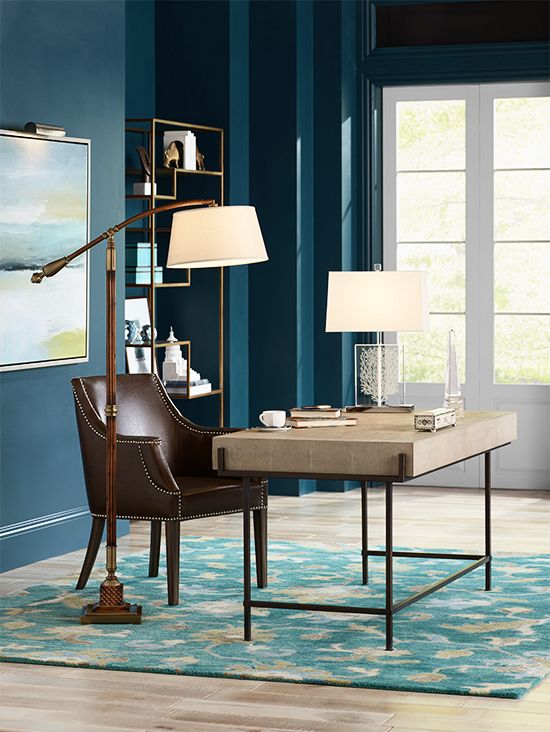home office lamps. Simple Lamps Stylish Home Office Featuring A Faux Shagreen Desk And Wooden Arc Lamp In Home Office Lamps O