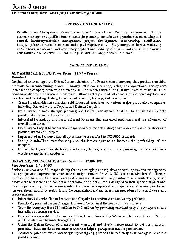 Ordinaire Manufacturing Executive Resume Example