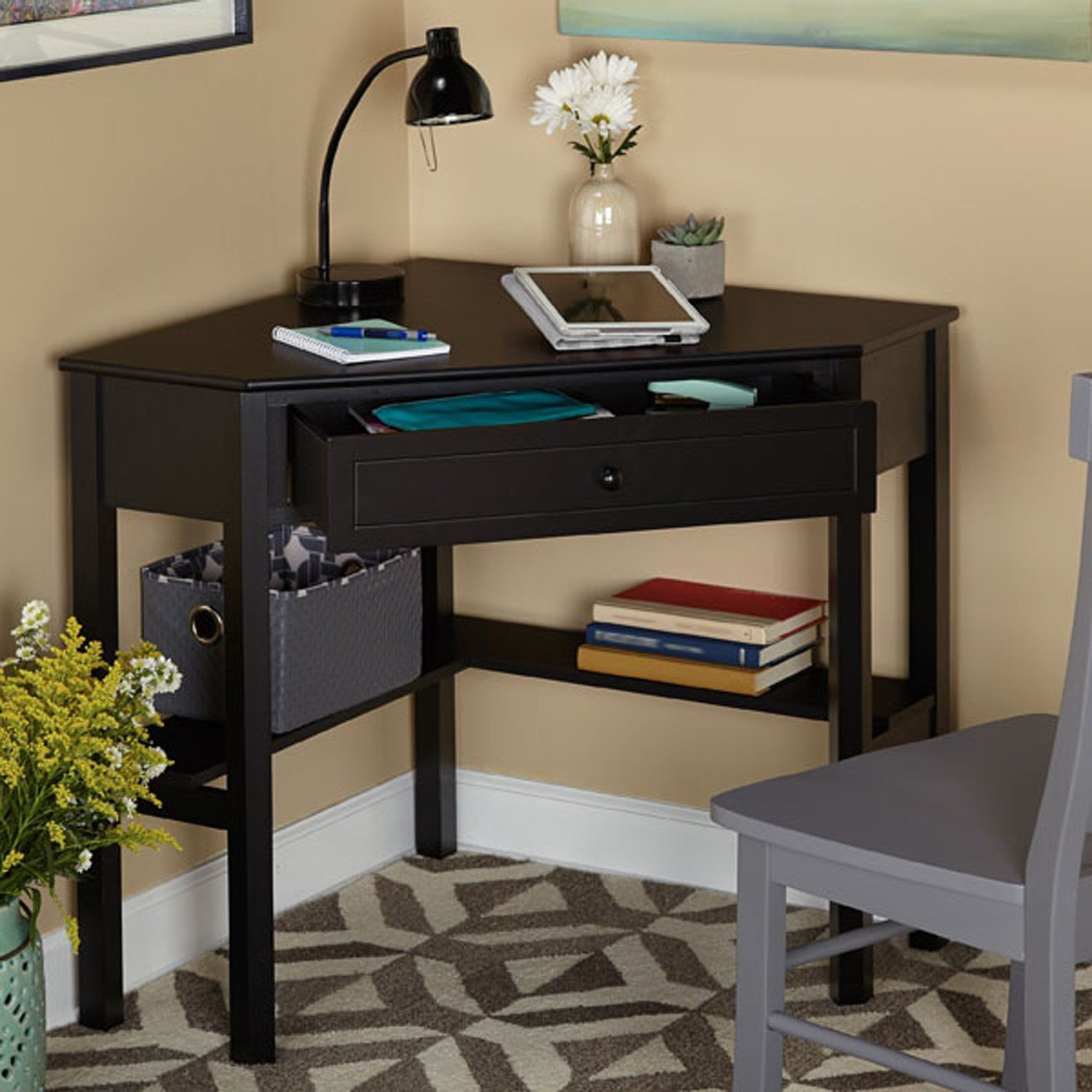 Contemporary corner computer desk with storage drawer small study