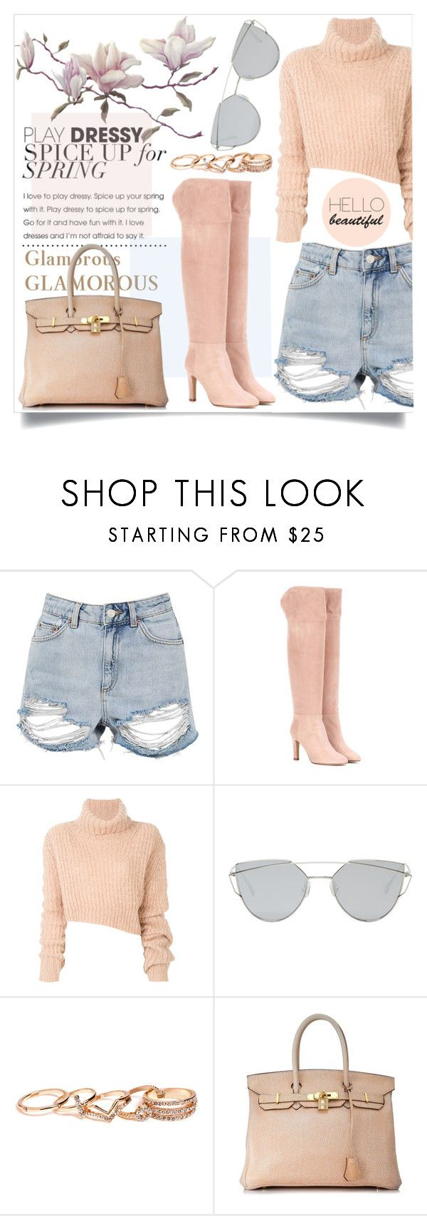 """S&S"" by semooon ❤ liked on Polyvore featuring Topshop, Gabriela Hearst, Ann Demeulemeester, Gentle Monster, GUESS and Hermès"